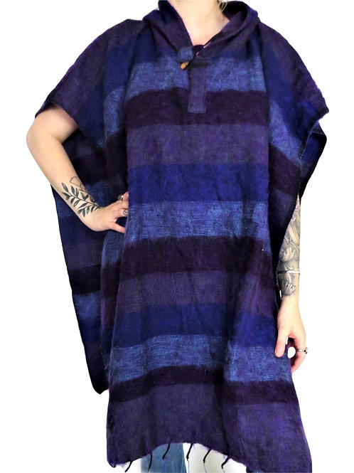 """Acrylic """"Feels Like Wool"""" UNISEX Square Hood Striped Poncho (in 5 Colours)"""
