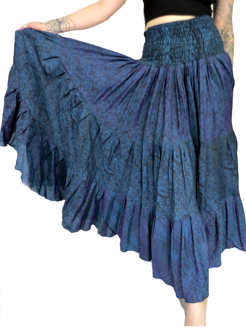 Recycled Shadow Sari Full Gypsy Skirt ( Various Colours)