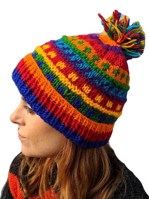 """Bobble Wool Hat """"Stripey Rainbow Spots"""" . Fleece Lined"""