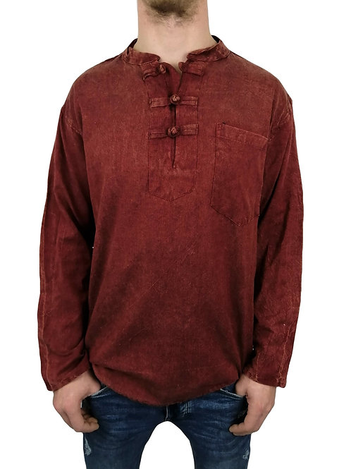 Knot Button Stonewash L/S Cotton Shirt (Available in 4 colours)
