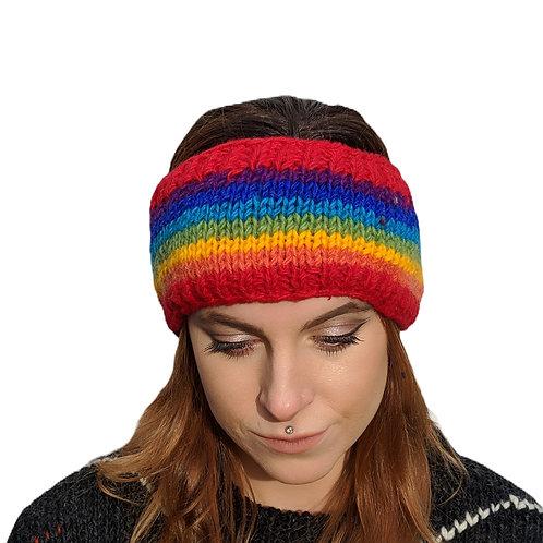 "Headband ""Rainbow Stripe"""" Wool and Fleece."