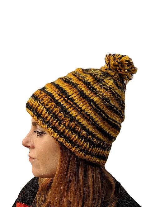"""Bobble Wool Hat""""Mustard Tiger """" . Fleece Lined."""
