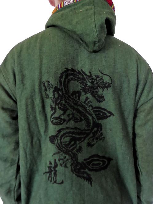 Dragon Green Blockprint Trim Zip Jacket Fleece Lined