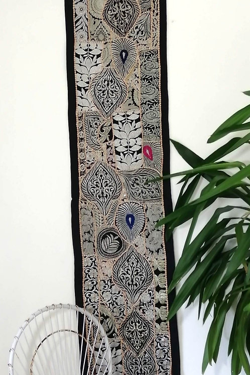 Runner Silver Thread Upcycled Patchwork Embroidery