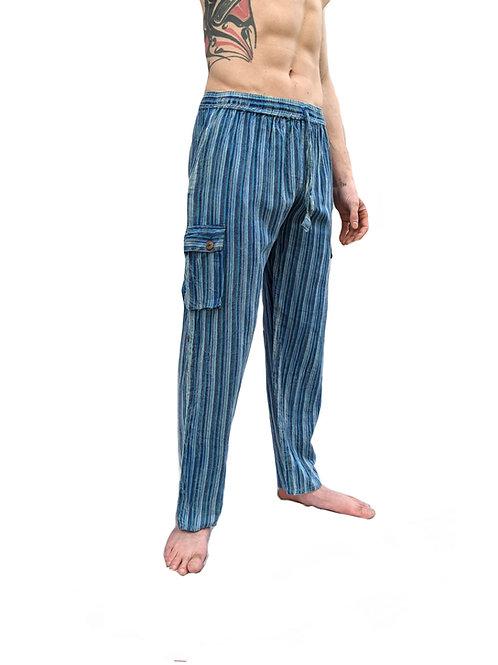 Sky Blue Nepal Stripe  Stonewashed Overdyed  Box Pocket Trouser or Culotte