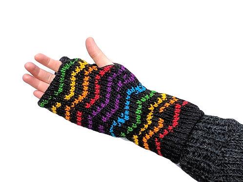 Armwarmer ZigZag Rainbow Wool and Fleece Lined