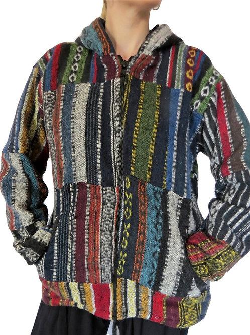 Brush Cotton Patchwork Jacket Fleece Lined