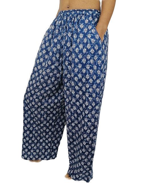 Cotton Jaipur Blue Palazzo Trousers