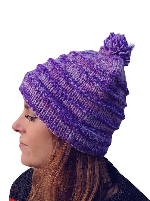 """Bobble Wool Hat """"Purple Mist"""". Fleece Lined."""
