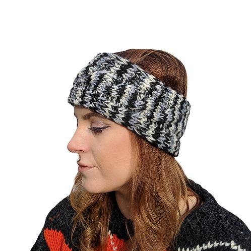 """Headband """"Grey Skies"""" Wool and Fleece."""