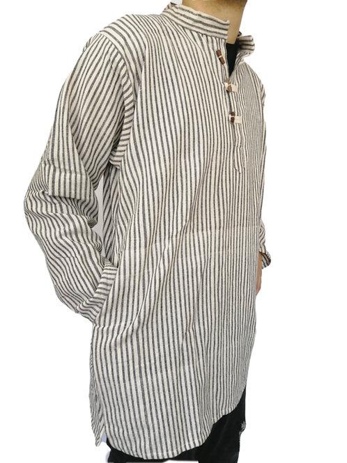 Cotton Indian B/W Stripe Kurta L/S Shirt