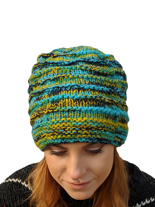 """Women's Ribbed """"Turquoise Mist"""" Beanie Wool Hat"""