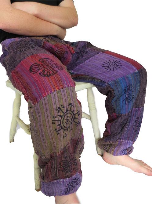 Fleece Lined Unisex Patchwork Elastic Bottom Blockprint (in 2 Colours)