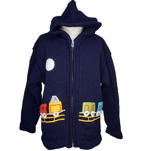 Childrens Train Zip Cardigan With Hood