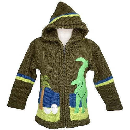Childrens Dinosaur Zip Cardigan With Hood