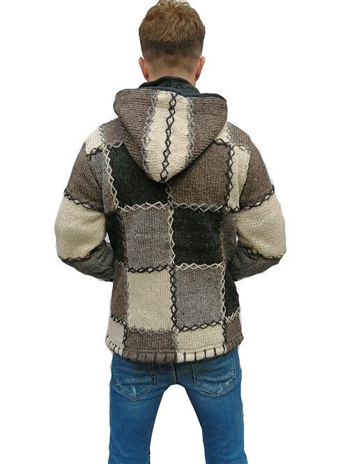 Patchwork Natural Wool Hood Jacket Fleece Lined