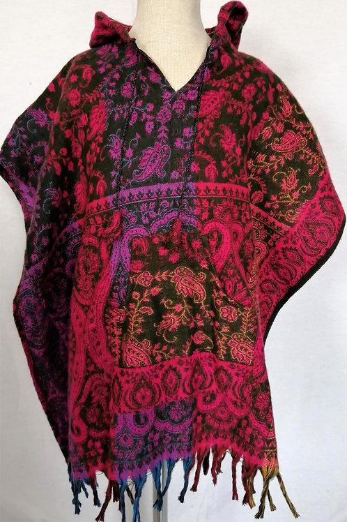Childrens Paisley Poncho with Hood
