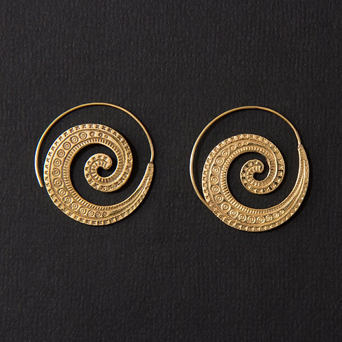 Brass Tribal Detailed Spiral Earring