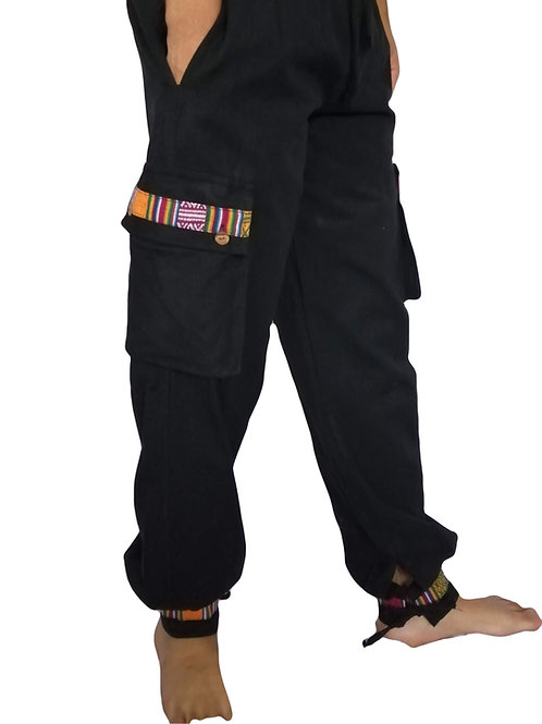 Heavy Cotton Tie Bottom Black Nepal Trim Trousers