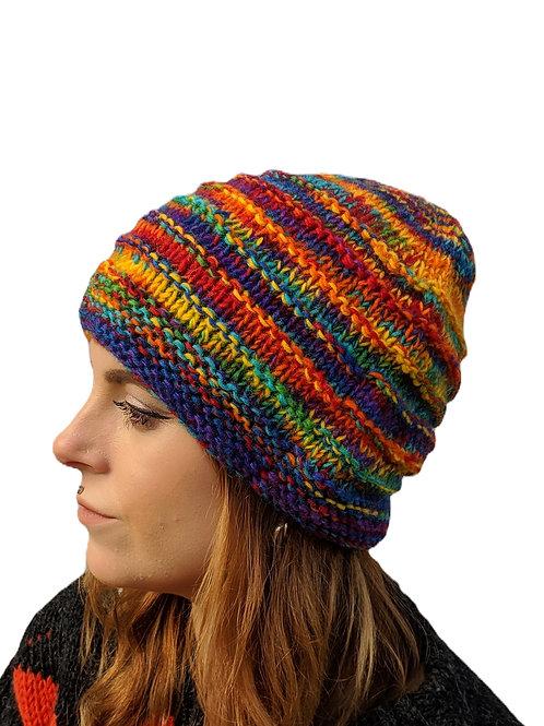 "Women's Ribbed ""Rainbow Sunburst"" Beanie Wool Hat"