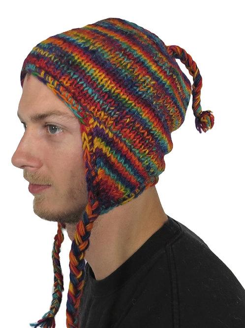 Men's Earflap Wool Multi Rainbow Hat