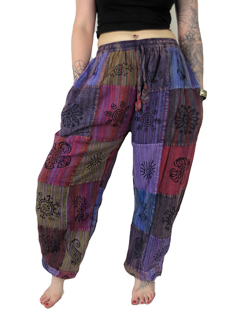 Fleece Lined Patchwork Stripe Blockprint Unisex Trousers (colours vary)