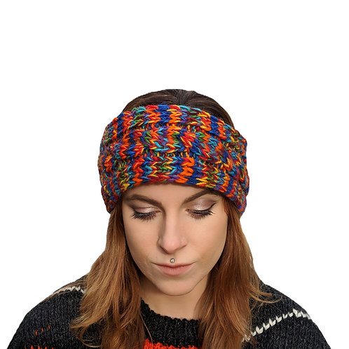 "Headband ""Rainbow Burst"""" Wool and Fleece."
