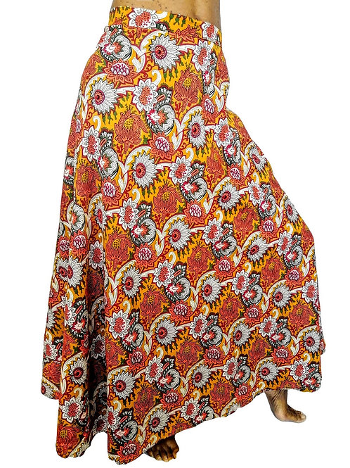Wrap Orange Flower Print Skirt