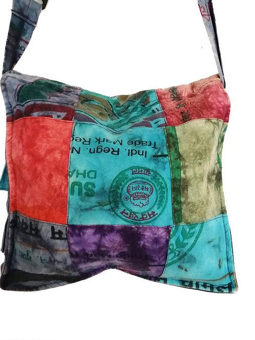 Recycled Rice Sack Cotton Square Side Pocket Shoulder Bag