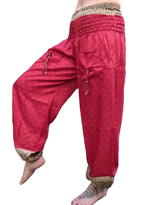 Upcycled Sari Bobbin Elastic Trousers Red with Beige Border.