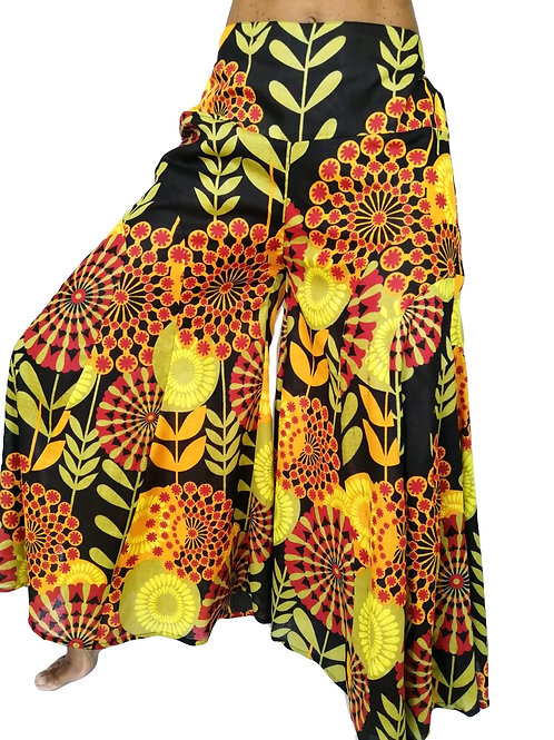 Cotton Kali Flare Flower Print Trousers