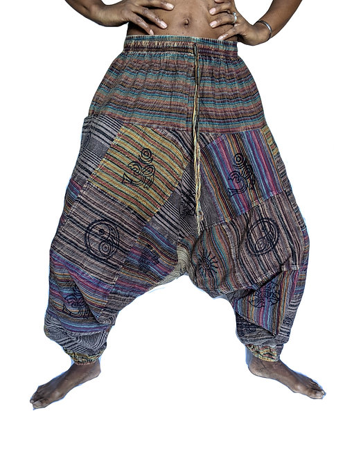 Patchwork Stripe Blockprint UNISEX Afghan Trousers