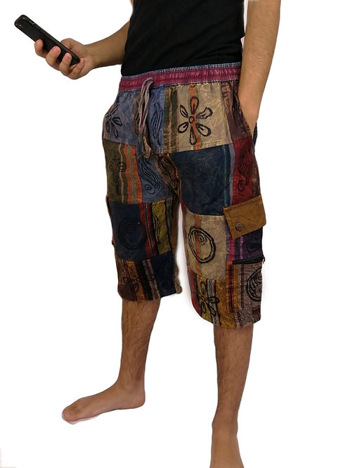 Patchwork Blockprint Shorts