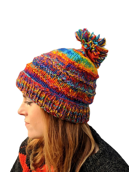 "Bobble Wool Hat ""Rainbow Burst"" Fleece Lined"