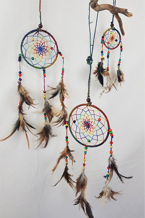 Small Coloured Hemp Dreamcatcher