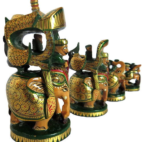 Hand Carved Gold Paint Rajput Figures Chess Set