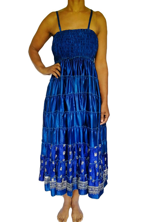 Vintage Satin Sari Royal Blue with Silver Thread Dress and Skirt
