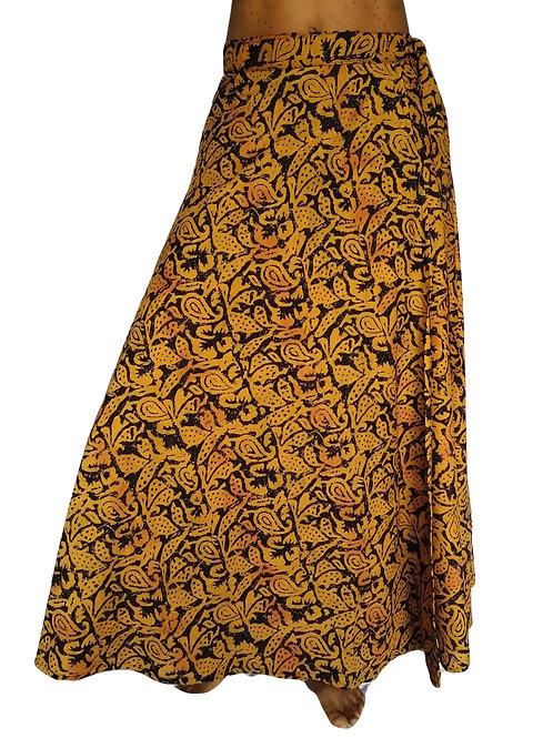 Jaipur Orange Black Print Wrap Skirt