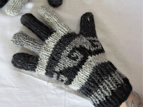 Natural Wool Finger Gloves Fleece Lined