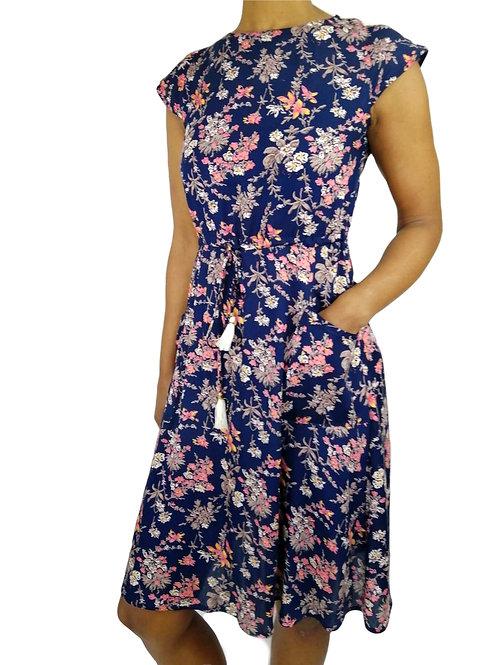 Round Neck Short Flower Print Dress (In 2 Colours)