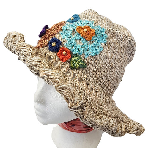 Hemp Cotton Women's Flower Flexible Brim Hat