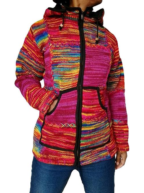 Patchwork Purple Rainbow Multi Jacket Fleece Lined