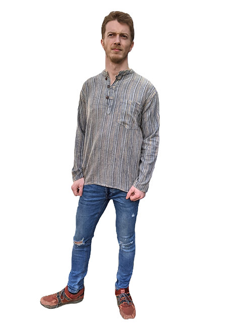 Light Grey Nepal Stripe Stonewash Cotton Long Sleeve Shirt