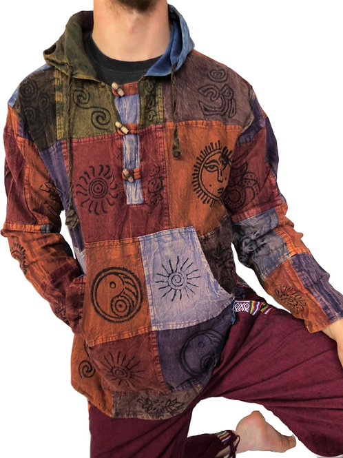 Cotton Patchwork L/S Hoody With Blockprint