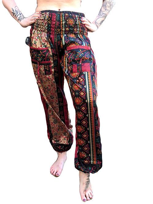 Upcycled Sari Bobbin Elastic Trousers Red Black Gold Flower Print