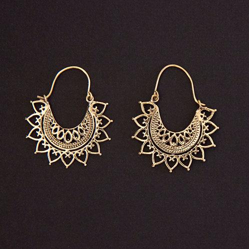 Brass Tribal Mandala Clasp Earring