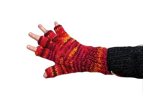 """""""Pink Sunburst"""""""" Fingerless Gloves Fleece Lined"""