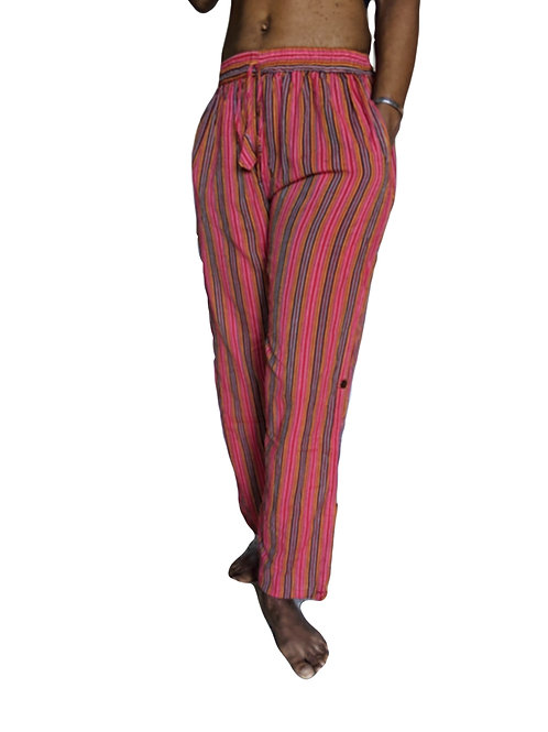 Nepal Stripe Straight Leg Trousers or Button Up Culottes Pink Tones Stonewash