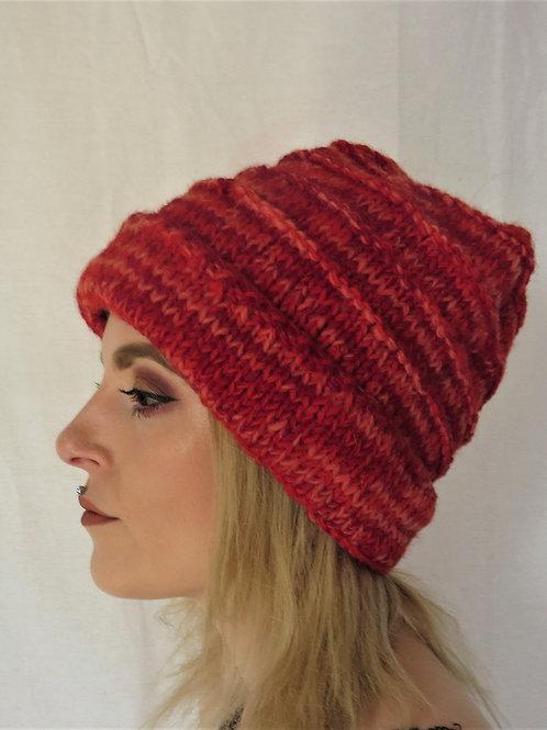 Women's Ribbed Rim Beanie Wool Hat