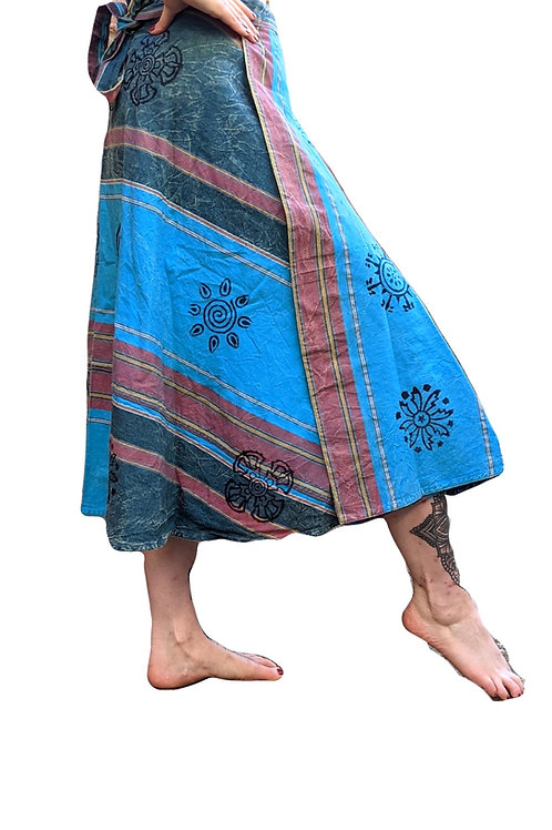 Heavy Shyama Stripe Blockprint Cotton 3/4 Length Wrap Skirt (in 2 Colours)